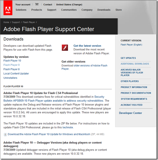 adobe flash player support center
